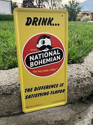 National Bohemian Natty BOH Beer Tin Sign Boston Brewery Mr. Can Glass Bottle