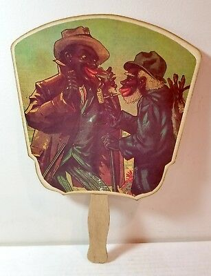 Coon Chicken Inn advertisement fan and menu, black Americana