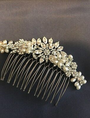 wedding hair accessory comb crystal and ivory pearl