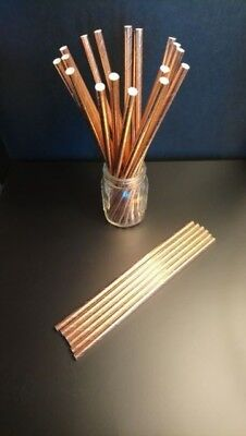 Solid Rose Gold Paper Straws Hen Night Weddings  Baby Shower Christmas New year