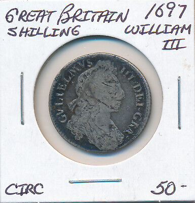 Great Britain Shilling 1697 William Iii - Circ