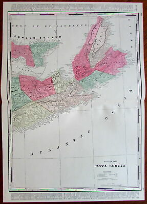Nova Scotia Canada large detailed c. 1880's hand color old map Edward Island