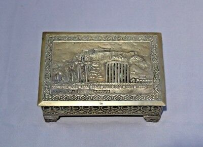 Antique Parthenon Acropolis Of Athens Greek Brass Cigarette Tobacco Footed Box K