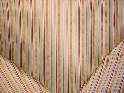 1-3/8Y Tpsa Contract Blue Gold Wine Satin Silk Stripe Drapery Upholstery Fabric