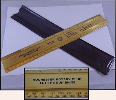 Rochester NY Rotary Club Brass Metal Ruler Rule to Practice Four-Way Test 12in.