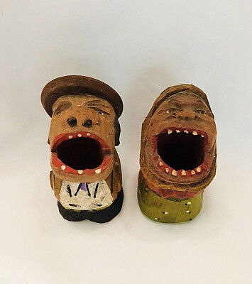 Vintage Anri? Handcarved Wood Bigmouth Toothpick Holder Man & Woman Couple