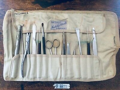 Vintage Hawksley & Sons antique field surgical instruments medical WW2