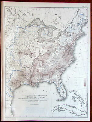 "African American ""Colored"" racial Population distribution c.1874 Eastern US Map"