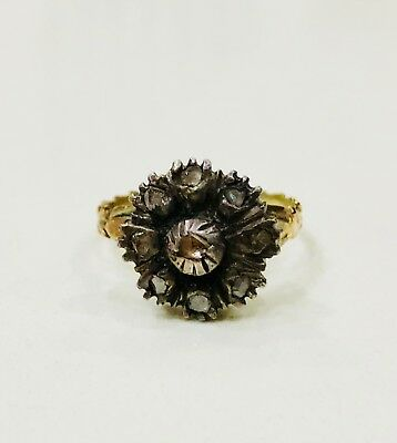 Antique Georgian Rose Cut Diamond Ring 18Th Century Silver And Gold