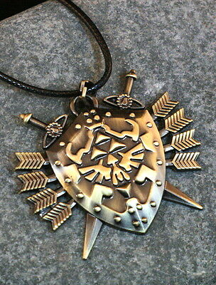 USA Seller The Legend Of Zelda Hylian Shield with Sword Arrows Necklace Cosplay