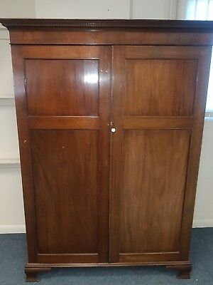 Antique  Late Victorian Mahogany Panelled Door Wardrobe