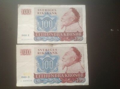 Two SWEDEN 100 KRONOR 1980 E and 1980 O