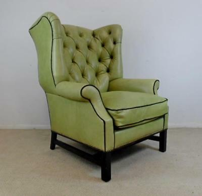 Excellent Pale Green Leather Wingback Chair With Brown Accents By Camellatalisay Diy Chair Ideas Camellatalisaycom
