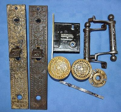 Antique Mallory Wheeler Brass Door Knob Rosette Lock Set Eastlake Iron Backplate