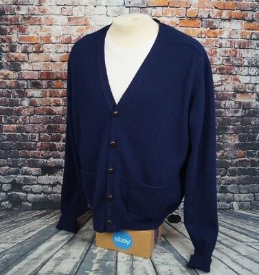Vintage LL Bean Lambswool Cardigan Sweater Navy Blue Mens XL Made in USA
