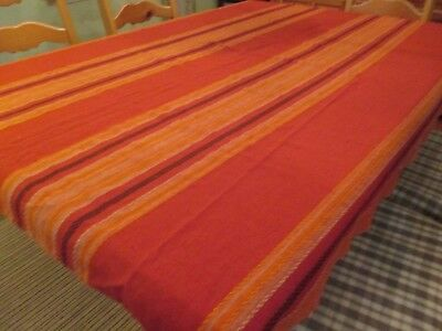 "Vintage Red Orange Rust Striped Woven Tablecloth or Throw Fall  52"" x 65"" EVC"