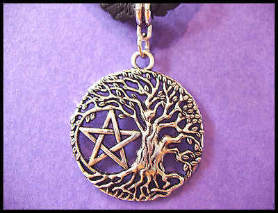 Wicca Pentagram - Tree Of Life Norse Pendant -  On 3Mm Adjustable Waxed Cord