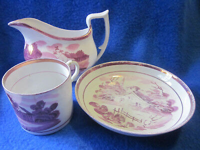 3 pieces pink vintage lusterware teacup saucer pitcher landscape decorations