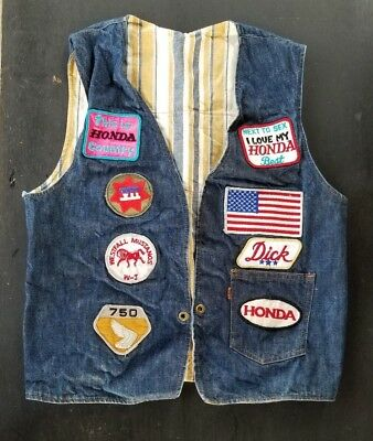 VTG BIKER LEVIS DENIM VEST HONDA 750 WING PATCHES, SMALL MEDIUM S M 36R, clean