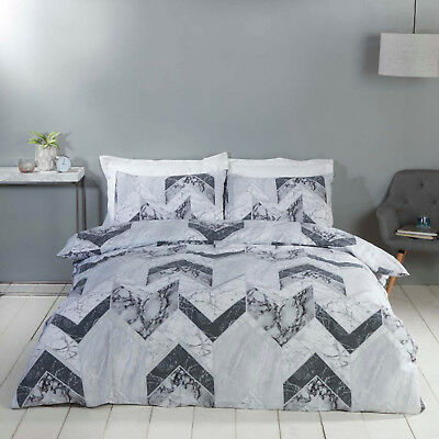 Grey Palazzo Marble Tile Effect Duvet Quilt Cover Bedding Set + Pillowcases