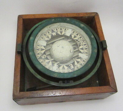 """Antique Ritchie Maritime 8.5"""" Compass Bronze Gimbaled Cased 1927"""