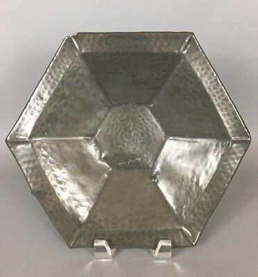 """Alice & Eugene Chanal French Art Nouveau Hand Wrought Pewter Tray 10.25"""""""