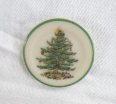 Vintage SPODE Porcelain Christmas Tree Pin Brooch Green & White Round