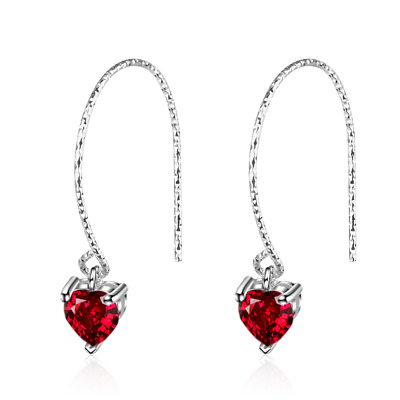 Ladies Exquisite Solid 925 Sterling Silver Red Zircon Heart Dangle Hook Earrings