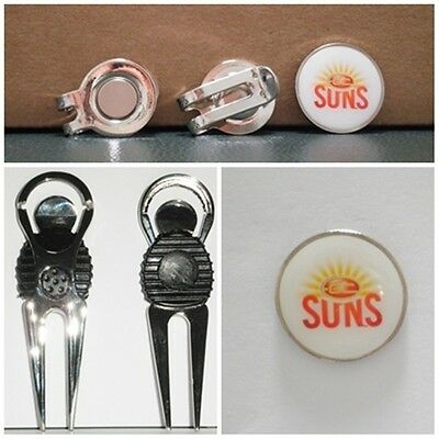 2 only GOLD COAST SUNS  GOLF BALL MARKERS + A NICE  DIVOT TOOL &  HAT CLIP SET