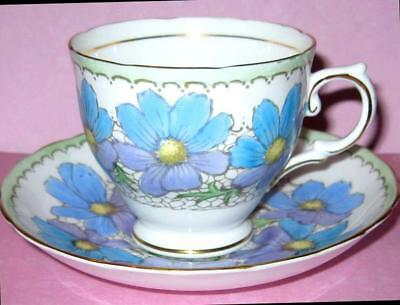 TUSCAN Tea Cup and Saucer BLUE/PURPLE FLORAL HANDPAINTED Teacup 1940s