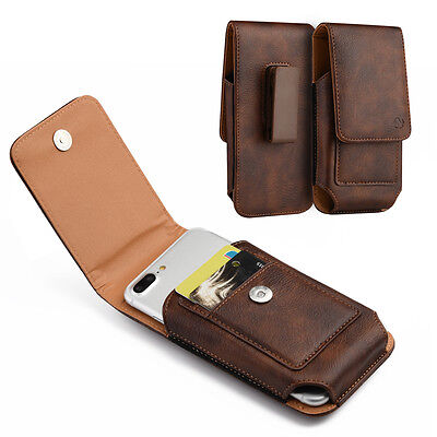 Leather Vertical Holster Swivel Belt Clip Pouch Card Slot Case For iPhone X XS 8