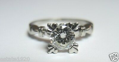 Antique Vintage Art Deco Diamond Engagement Platinum Ring Size 5.75 UK-L EGL USA