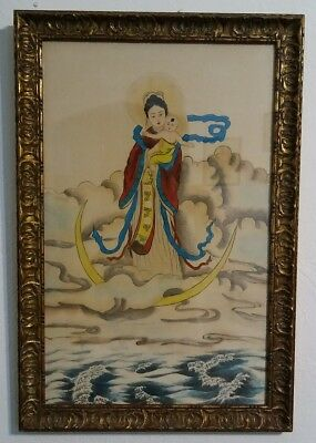 Vintage Asian Silk Painting, Chinese or Tibetan, Mother w Buddhist Baby, Framed