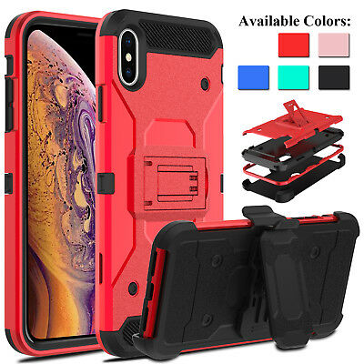 For  iPhone Xs Max/Xs/XR 2018 Shockproof Hybrid Case With Kickstand Clip Holster