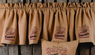 New Primitive Country Farmhouse Chic Southern CORNMEAL FEED SACK Curtain Valance