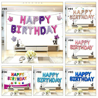 "16"" Happy Birthday Foil Balloon Kit Banner Bunting Self Seal Party Decoration"