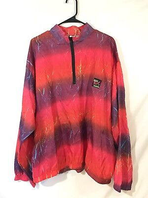 Vintage Neon 90s Surf Style Windbreaker Zip Up Pink Purple One Size Made In USA
