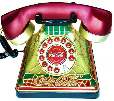 Coca Cola Stained Glass Look Light-Up Push Button Telephone Brand New in Box