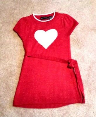 Sweater Project Red Mock Sweater w/ White Heart in the Middle & Tie Sz.7/8