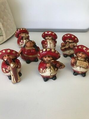 Hand Painted Mexican Mariachi Band Wood Figurines Set of 7 Charming!