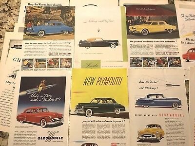 Vintage Lot of 30 Automobile Auto Car Magazine Ad Clippings