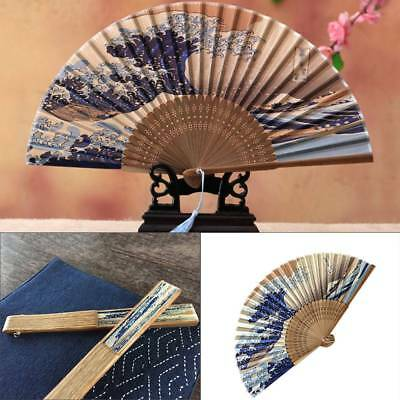 Bamboo Silk Folding Hand Held Fan Wedding Dancing Party Prom Gift Japanese Style