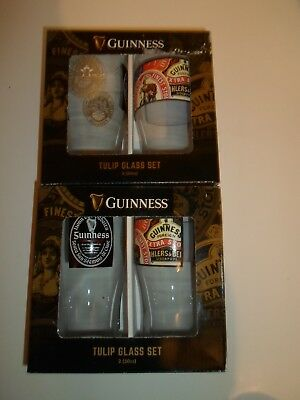 NEW Guinness Tulip Glass Set Harp Logo 4 Glass Set Shipped with care.