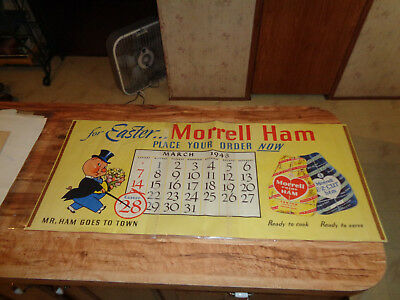 """VINTAGE 1948 Morrell Ham Poster """"For EASTER..Morrell Ham Place Your Order Now"""""""