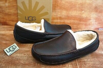 dbe027379a1 UGG ASCOT LEATHER GRAIN SLIPPERS , Mens US 9, Color: CHINA TEA, 5379