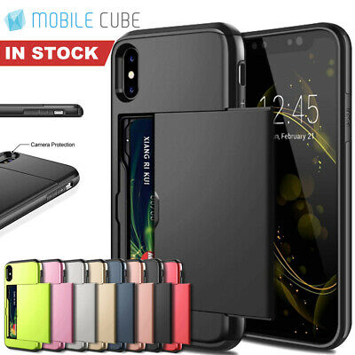 iPhone X XS Max XR 8 7 Case Slide Armor Wallet Card Slots Holder Cover for Apple