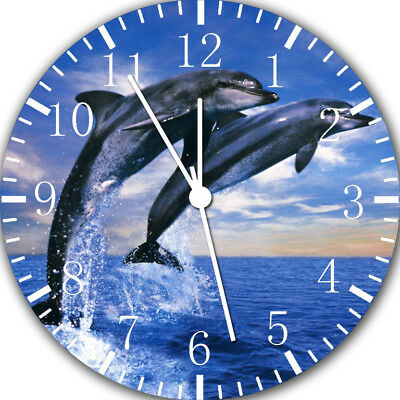Cute Dolphins Frameless Borderless Wall Clock Nice For Gifts or Decor W402