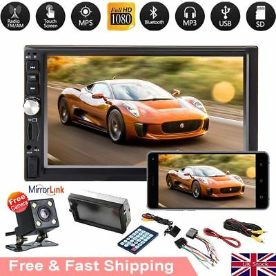 """UK Double 2 Din 7"""" Car FM MP5 MP3 Player Touch Screen Stereo Radio Bluetooth USB"""