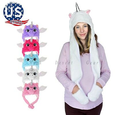 Unisex Kids Adults Novelty Unicorn Costume Hat Winter Plush Scarf Hooded Cosplay