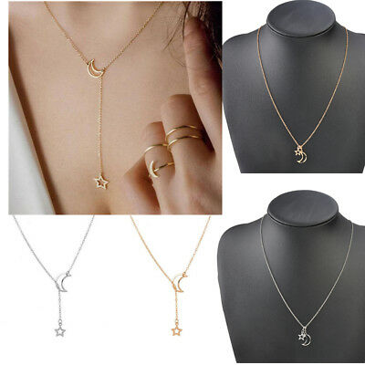 Simple Moon Star Necklace Gold Silver Long Pendant Choker Chain Women Jewelry